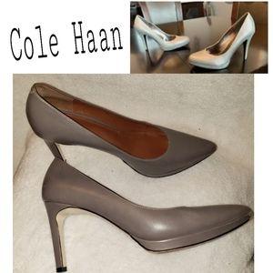 ColeHaan taupe pointed slim platform heel.  GUC